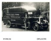 Photograph, black and white, showing a W G Ducros lorry with drivers, for T Hawkins and Sons, horse transporters, Epsom, Surrey, outside Radford Bridge Transport Cafe, London and Portsmouth Road, Liphook, Hampshire, 1930 - 32