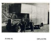 Photograph, black and white, showing a Maudslay lorry with drivers, outside Radford Bridge Transport Cafe, London and Portsmouth Road, Liphook, Hampshire, 1930 - 32