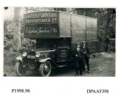 Photograph, black and white, showing a Ford lorry with drivers, for Davis's Furniture Depositories Limited, Clapham Junction, Wandsworth, London, outside Radford Bridge Transport Cafe, London and Portsmouth Road, Liphook, Hampshire, 1930 - 32