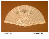 Fan, white silk leaf painted sprays of pink, white and blue flowers, pierced ivory sticks inlaid silver sequins, approximate radius 242mm, c1870s