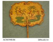 Handscreen or fixed fan, wooden leaf painted with Chinoiserie scene in red, green, gold and black on a yellow ochre ground, turned wooden handle painted to match, approximate width 245mm, mid ninteenth century