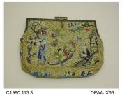 Bag, evening, clutch bag with strap handle on the back, embossed gilt frame with royal blue detail, small gilt pendant and snap closure, densely embroidered all over in the Chinese style with female figures surrounded by birds, butterflies and flowers,