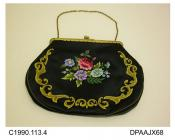 Bag, evening, embossed gilt frame with snap closure and gilt chain handle, black satin embroidered with colourful flowers in central motif and twining border in shades of gold with metallic detail, interior lined olive, external seams piped to match, ap