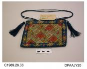Bag, reticule, woolwork on canvas, central rectangle of chequerboard design with stylized floral sprigs on plain grounds, all in light colours, the central design bordered by toning motifs on a mid blue ground, all edges trimmed matching blue cord, uppe