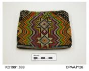 Purse, woolwork on canvas, cross stitch, brightly coloured geometric patterns on both faces, zip closure, lined green sateen, approximate width 150mm, approximate depth 125mm, c1890-1930