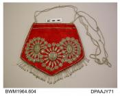 Bag or reticule, soft, scarlet satin embriodered with several types of silver thread, sequins, beads and braid, pale green chain stitch infill, lower edge trimmed with fringe of clear bugle beads tipped silver, shoulder length silver cord handles, appro
