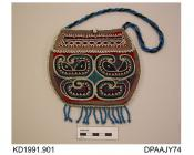 Purse, bead purse or bag, red wool, edges bound with deep violet silk ribbon, beaded with curling abstract design in pale blue, dark blue, black and white, front and back have decorative flap trim, all edges beaded in white, mid blue beaded fringe trim