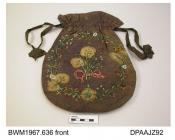 Bag, reticule, dorothy bag, mottled mauve silk with bleached areas, both faces decorated with ribbonwork and beadwork flowers and foliage, brown moire silk ribbon ties, lined pale blue silk which is also mottled, approximate width 240mm, approximate dep