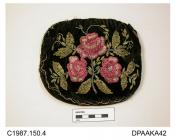 Bag, black velvet, both faces decorated with embroidered stem of pink roses and foliage in patterned metal pailettes with cut steel beaded detail, unlined, minus frame, approximate width 165mm, approximate depth 145mm, c1930s