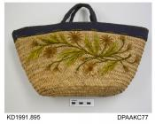 Handbag, woven rush basket decorated with embroidered flowers in shades of brown and green wool, lined and bound in ribbed navy fabric, approximate width 365mm, approximate depth 185mm, c1896