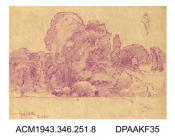 Drawing, crayon drawing, in purple, on paper, of rural scene with trees, near Freshford, Wiltshire drawn by William Herbert Allen, of Farnham, Surrey, 1880s-1940s