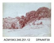 Drawing, crayon drawing, on paper, in brown, of a rural scene with pathway leading to trees, near Bradford-on-Avon, Wiltshire painted by William Herbert Allen, of Farnham, Surrey, 1880s-1940s