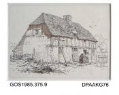 Drawing, pen and ink, timber framed cottage by Martin Snape, late 19th early 20th century