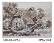 Drawing, pen and ink, cottage in Woodcot Lane by Martin Snape, late 19th early 20th century