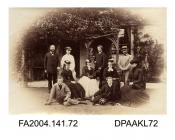 Photograph, ten members of the Seymour family beneath a rustic verandahvol 1, page 11