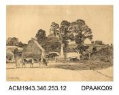 Drawing, pen and ink drawing on paper, a farmyard scene with cattle at a site unknown in Wiltshire, drawn by William Herbert Allen, of Farnham, Surrey, September 1923