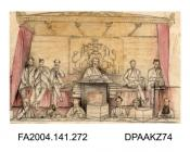Sketch in pencil and watercolour, The Court of Queen's Bench, Westminster during the Trial of Tichborne v Lushington, by Agnes Costeker, 10 May 1871 - 6 March 1872vol 1, page 33 - Sketches in Court during the Trial of Tichborne v Lushington by Agnes Co
