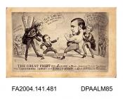 Photograph of a cartoon, a boxing match between the Infant and the Claimant supported by lawyers.vol 1, page 57