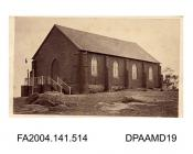 Photograph, the Protestant Church, Wagga Wagga, taken by the American Photographic Company, Melbourne, Australiavol 1, page 62 - Views connected with the Trials.