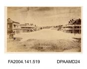 Copy photograph, the floods in the main street of Wagga Wagga, showing the Australian Joint Stock Bank on the left. Possibly 1870. Copy photograph made by The London Stereoscopic and Photographic Company, Londonvol 1, page 62 - Views connected with the