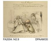Drawing, pen, ink and watercolour, The Dowager Lady Tichborne seated before a bowing sailor with a large shaggy mongrel on a lead. The Claimant's head is superimposed on the mongrel. A black man (Bogle) peeks round the door. A picture of a small sleek t
