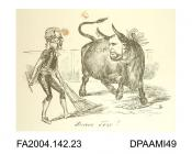 Print, black and white engraving, Sir John Coleridge dressed as a matador wearing a legal wig and quill in hand, facing up to a large bull with the head of the Claimant superimposed. The bull is undeterred by spears with legal barbs piercing his neck an