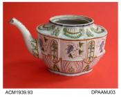 Teapot, earthenware, lid and handle missing, commode shape with relief-moulded decoration painted in Pratt colours under a blue-toned glaze, not marked, unidentified maker, c1790