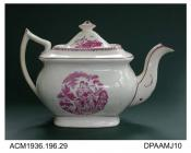 Teapot, bone china, London shape with steeply pyramidal lid, puce bat print on both sides depicting Charity, pink lustre borders, not marked, unidentified maker, c1820-1830