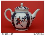 Teapot, soft paste porcelain, globular shape, underglaze blue vertical bands and iron red details with additional red enamel decoration and gilt lines, pine-cone knop on lid, not marked, probably Worcester, c1775