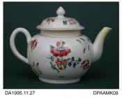 Teapot, soft paste porcelain, globular shape, pine-cone knop on lid, decorated with flower sprays in coloured enamels, not marked, not attributed, c1770