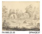 Index number 32: drawing, pencil drawing, sketch of farm buildings (?) with horse and cart and two men passing by, entitled One Mile from Brabourne Lees, Kent, drawn by Captain Durrant, 1809 album of watercolours/drawings of Kent, Hampshire, Sussex, Isl