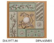 Tile, pressed clay dust, printed and enamelled design showing Japanese motifs and an orange-tree bough in geometric blocks; back, moulded grid, flat at centre for printed factory mark and registered design mark with encoded date of 29th March 1881, made