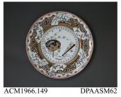 Dinner plate, white earthenware, decorated with transfer-printed and enamelled 'Bombay' pattern of fans and Japanese motifs; back, painted pattern number, impressed factory marks including letter S, figure 10 and BB (for Best Body) as well as printed pa