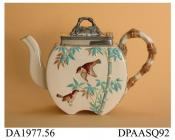 Teapot, earthenware with electroplated lid, canteen shape with indented base, decorated with birds and bamboo in low relief and painted in enamel colours; base, painted pattern number D 9963, factory mark impressed on body and registered design mark wit