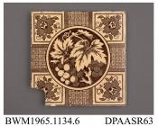 Tile, pressed clay dust, with a brown printed design including floral corner motifs and a central roundel containing grapes and vine-leaves; back, moulded grid and factory mark and printed registered design mark with encoded date of 2nd December 1882, m