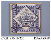 Tile, pressed clay dust, with a blue printed design showing a shallow urn of wild roses in a rotated square frame, the tile edges enamelled yellow; back, moulded grid pattern incorporating factory mark and printed registered design mark with encoded dat