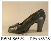 Shoes, pair, women's, court shoe, grey calf, rounded and walled toe, platform sole, high straight Louis heel, leather sole, repaired, approximate length overall 225mm, approximate heel height 75mm, approximate width of sole 80mm, c1949