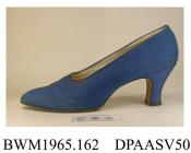 Shoes, pair, women's, evening, mid blue brocade with tiny self spot, pointed toe, white kid insole printed Made in Switzerland for J Collinson and Co, Liverpool and Chester, high slightly curved and waisted Louis heel with kidney shaped top piece, leath