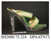 Shoes, sandals, pair, women's, moulded transparent acrylic, high straight heel, platform sole with black synthetic outer sole stamped Made in Italy, open oval toe, bands of shaded green and cream cord over instep and forefoot, green fabric insole with g