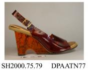Shoes, pair, women's, semi transparent imitation tortoishell PVC, sling-back with gilt buckle closure, open square toe, fawn plastic insole printed Jack Rogers, USA, high wedge heel of speckled amber acrylic, brown synthetic sole and heel top piece, lef