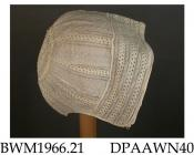 Bonnet, cap, infant's, coif style, fine white cotton, three rows of cording around front edge, headpiece of hemstitched whitework, caul embroidered with stripes of hemstitched whitework and spaced dots, caul gathered into 65mm crown with sunflower motif