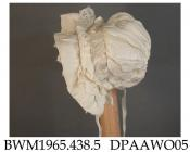 Bonnet, infant's, white silk, brim lined white silk lace, headpiece trimmed white silk lace, ruched caul with tucked band gathered into small round crown, silk ribbon ties, approximate height 150mm, approximate depth 120mm, c1890-1910