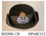 Hat, WREN officer's tricorne, very dark navy fine fur felt, round domed crown, medium brim edged matching petersham, wool braid hatband with cap badge having piping with fouled anchor, unlined, deep inner band printed Webflex Regd,  size 6 and a half, p