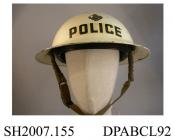 Helmet, civilian helmet Mk 2, steel, painted white with police badge on front and the word police in black, approximate height 130mm, approximate diameter 310mm, c1939-1945