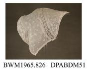 Day cap, cap, women's, coif style, white muslin with sprig embroidered whitework, front section with whitework, join between front and caul has narrow inset band of East Midlands bobbin lace, caul embridered with groups of whitework dots, diamond shaped