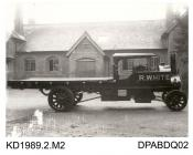Photograph, black and white, showing a steam wagon for R White built by Tasker and Co, Waterloo Foundry, Anna Valley, Abbotts Ann, Hampshire