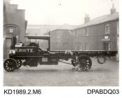 Photograph, black and white, showing a steam wagon, for R White, built by Tasker and Co, Waterloo Foundry, Anna Valley, Abbotts Ann, Hampshire, 1912