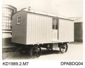 Photograph, black and white, showing a sleeping van, built by Tasker and Co, Waterloo Foundry, Anna Valley, Abbotts Ann, Hampshire
