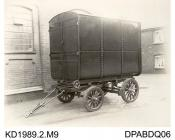 Photograph, black and white, showing a steel enclosed body on a trailer, built by Tasker and Co, Waterloo Foundry, Anna Valley, Abbotts Ann, Hampshire