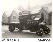 Photograph, black and white, showing a steam wagon for R White, built by Tasker and Co, Waterloo Foundry, Anna Valley, Abbotts Ann, Hampshire